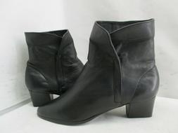 Hunt Club Black Leather Zip Ankle Boots Womens Size 6 M