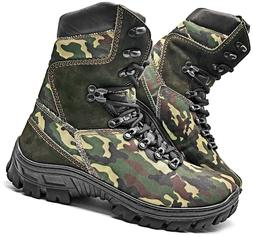 HUNTING MENS BOOTS MILITARY ARMY TACTICAL CAMOUFLAGED CANVAS