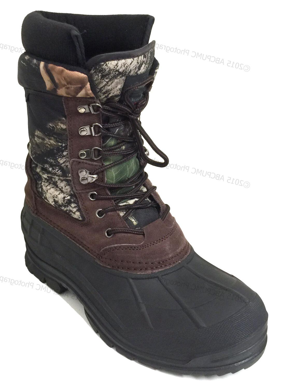 mens winter snow boots camouflage 10 leather
