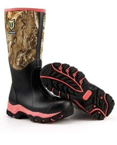 Tidewe Womens Waterproof Hunting Boots Pink Size New In