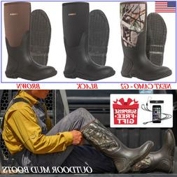 HISEA Men's Rain Snow Boots Outdoor Casual Insulated Hunting