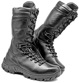 Mens Hunting Boots Motorcycle Black Leather Combat Boots Tac