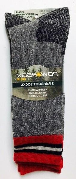 PowerSox by Gold Toe, Merino Wool Blend Boot Sock, Large, 2