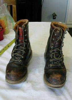Vintage Mens H & H Construction Leather Hunting Work Boots s